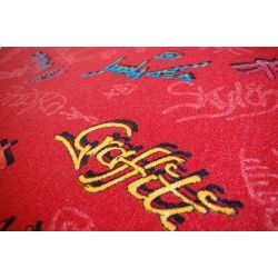 Children carpet GRAFFITI red