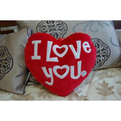 Plush pillow HEART LOVE red