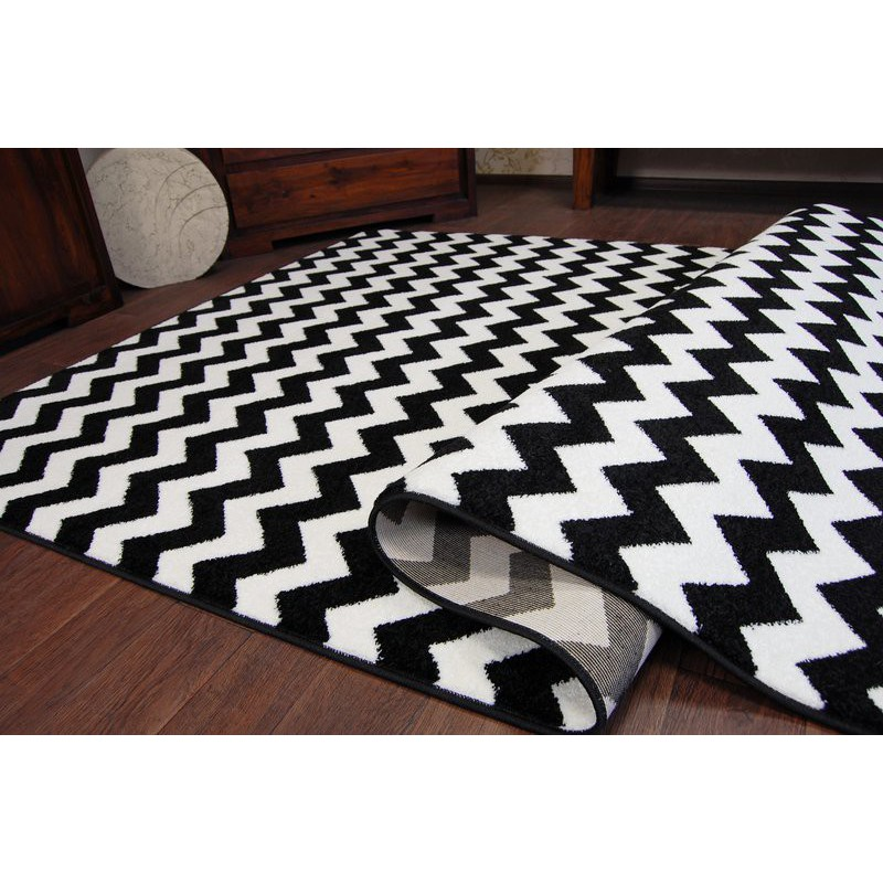 amazing thick modern rugs sketch white black f561 zig zag large size