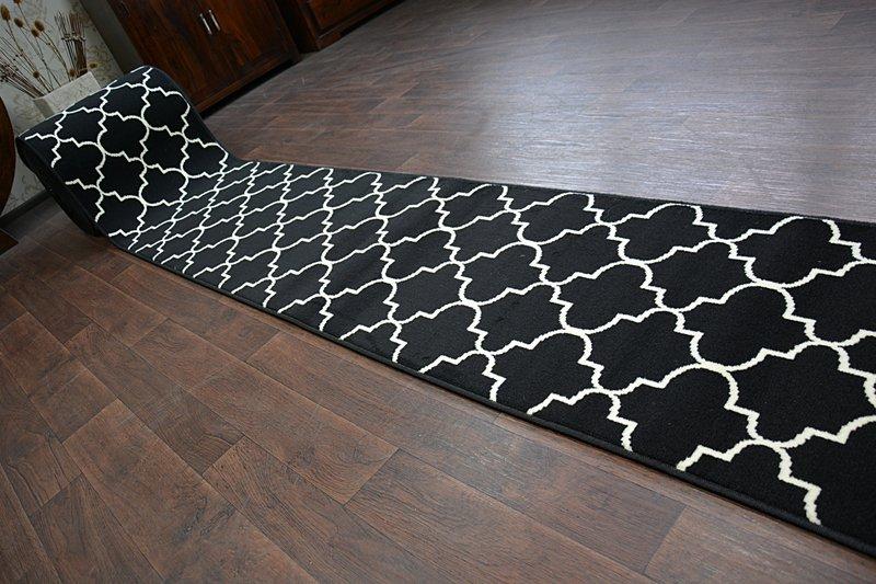 Modern Hall Carpet Runner Bcf Base Black Trellis Stairs 60