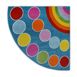 Carpet PAINT quarter circle G4776 - Rainbow blue/cream