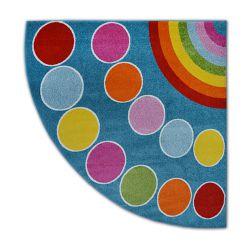 Carpet PAINT quarter circle G4776 - Rainbow blue/cream