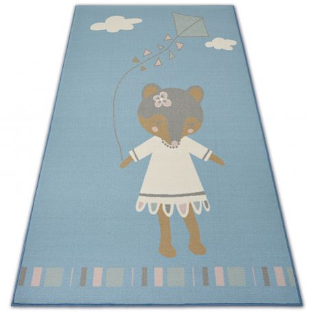 Carpet for kids LOKO Mouse blue anti-slip