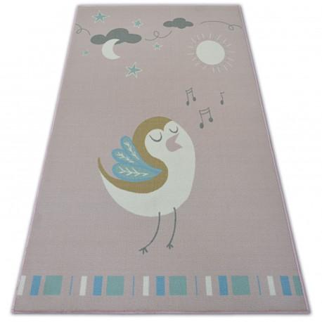 Carpet for kids LOKO Bird pink anti-slip