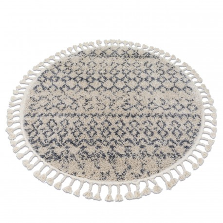 Carpet BERBER AGADIR G0522 circle cream / grey Fringe Berber Moroccan shaggy