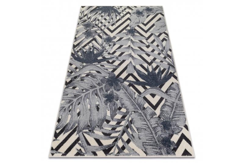 Carpet Heos 78540 Cream Blue Leaves Jungle