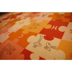Children carpet PUZZLE orange