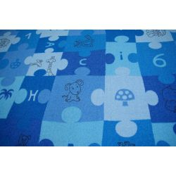 Children carpet PUZZLE blue