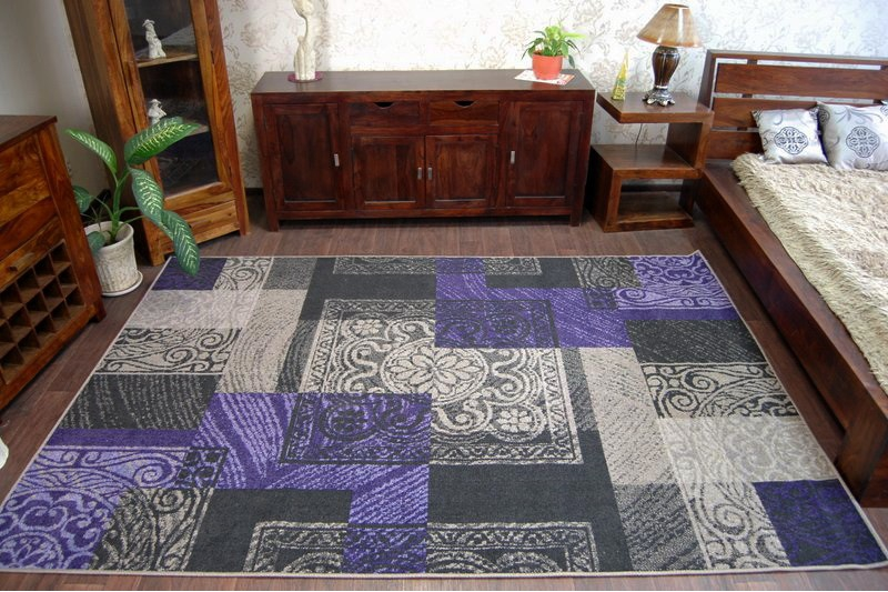 """Modern Designs Tapis gris Amazing Rugs /""""Bologne/"""" violet Rectangles"""