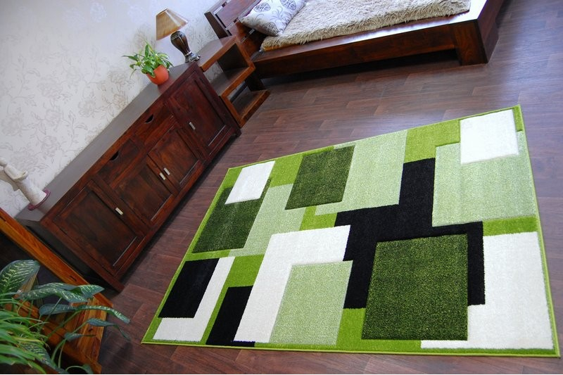Thick Modern Rugs Pilly Carpets Squares Green Black