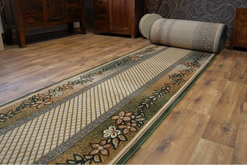 Épais hall runner heat set primo 4626 vert largeur 70-140cm extra long soft rugs
