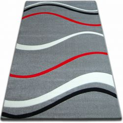 Carpet FOCUS -  8732 gray red WAVES LINES DASHES