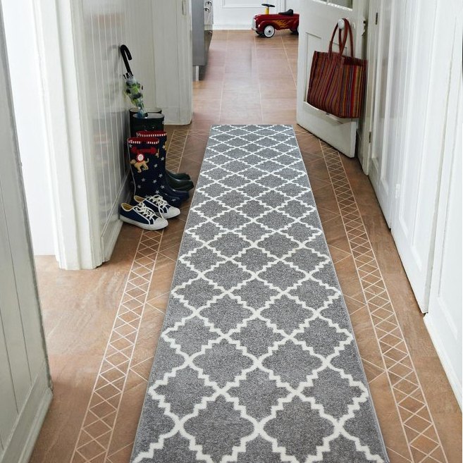 Long Size Runner Hallway Entrance Carpet For Stairway: Modern Thick Hall Runner SKETCH TRELLIS Grey Width 60