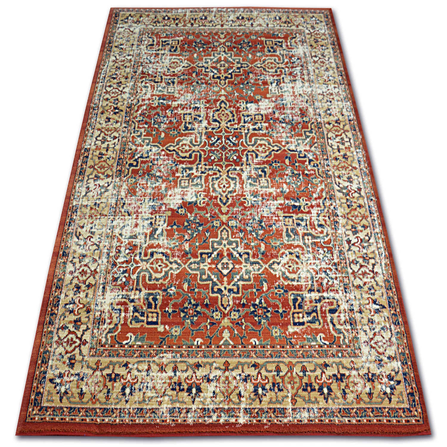 Details About Thick And Densely Woven Wool Rugs Vera Flowers Terracotta Traditional Carpets