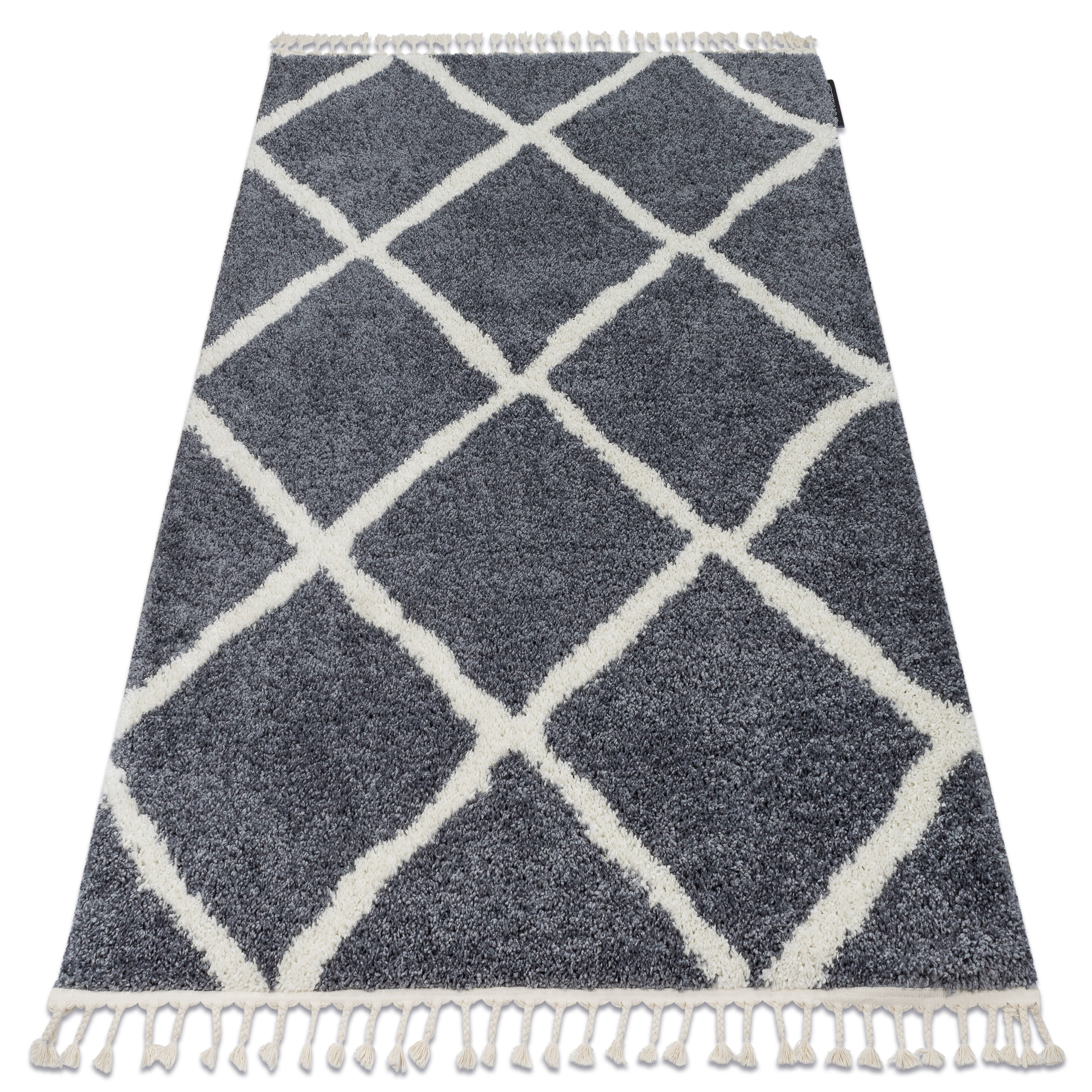 Picture of: Amazing Modern Shaggy Rugs Berber Cross Grey White Etno Oriental Best Quality Ebay